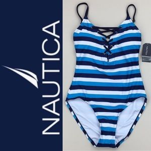 Nautica Blue Striped One Piece Lace Up Swimsuit